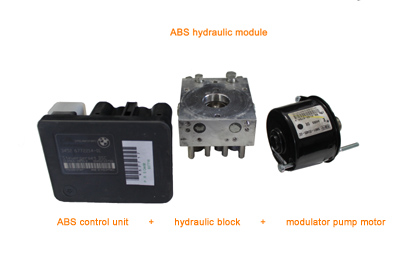 ABS hydraulic module consisting of ABS control unit, hydraulic block and modulator pump motor